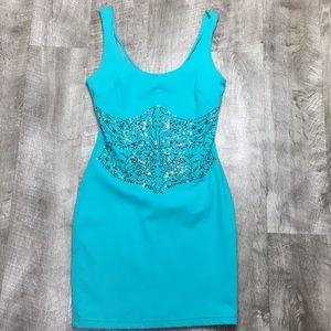 Bebe teal embellished mini dress XS